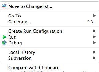 PHPStorm context menu detail