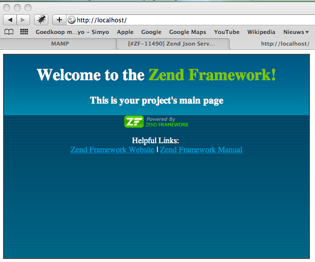 Zend Framework default application welcome screen
